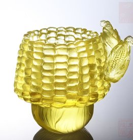 "LIULI Crystal Art Crystal ""Golden Abundance"" Desk Decor in Amber Clear"