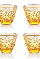 "LIULI Crystal Art Crystal ""To Drink Amongst Flowers"" Sake Glasses, Set of 4, Light Amber"