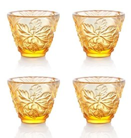 LIULI Crystal Art Crystal Sake Glasses, Set of 4, Light Amber