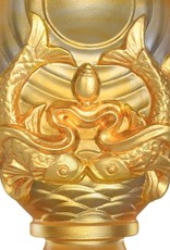 LIULI Crystal Art Crystal Feng Shui Pair of Golden Fish-Auspicious Clarity, Eight Auspicious Offerings, 24K Gold Gilded (Limited Edition)