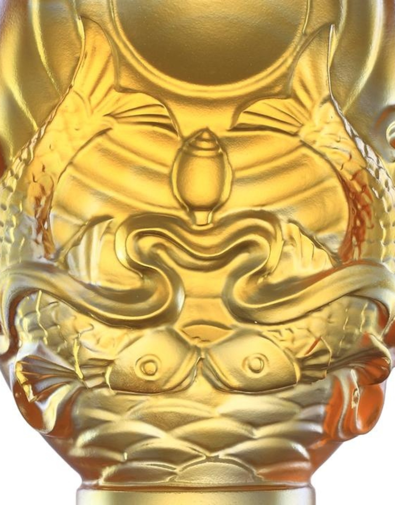 LIULI Crystal Art Crystal Feng Shui Pair of Golden Fish-Auspicious Clarity, Eight Auspicious Offerings, Light Amber (Limited Edition)