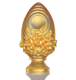LIULI Crystal Art Crystal Feng Shui Lotus Flower-Auspicious Joyous Heart, 24K Gold Gilded (Limited Edition)