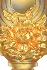 LIULI Crystal Art Crystal Feng Shui Lotus Flower-Auspicious Joyous Heart, Eight Auspicious Offerings, 24K Gold Gilded (Limited Edition)
