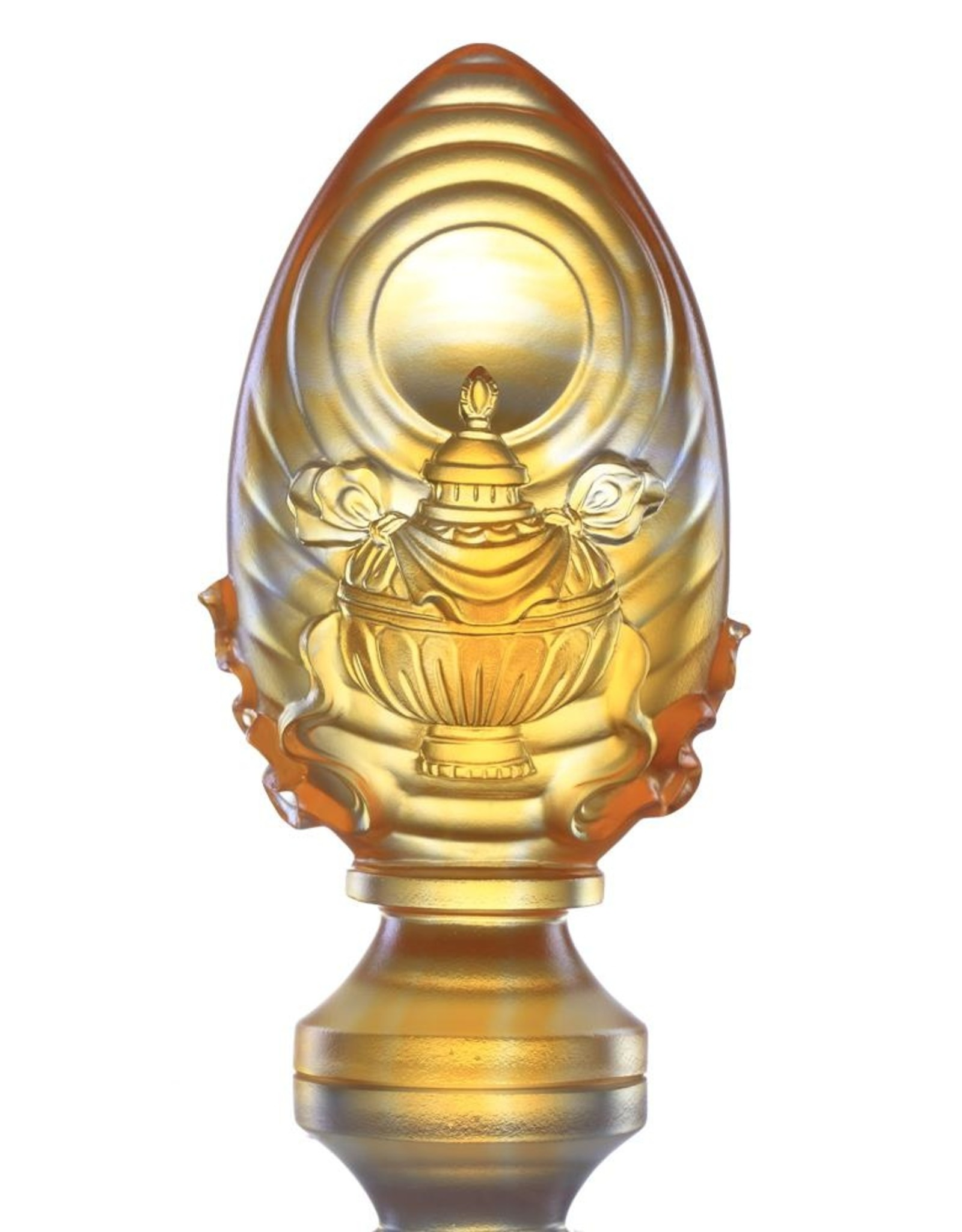 LIULI Crystal Art Crystal Feng Shui Vase of Treasures-Auspicious Wishes, Eight Auspicious Offerings, Light Amber (Limited Edition)