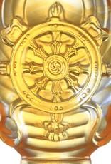 LIULI Crystal Art Crystal Feng Shui Dharma Wheel-Auspicious Fulfillment, Eight Auspicious Offerings, Light Amber (Limited Edition)