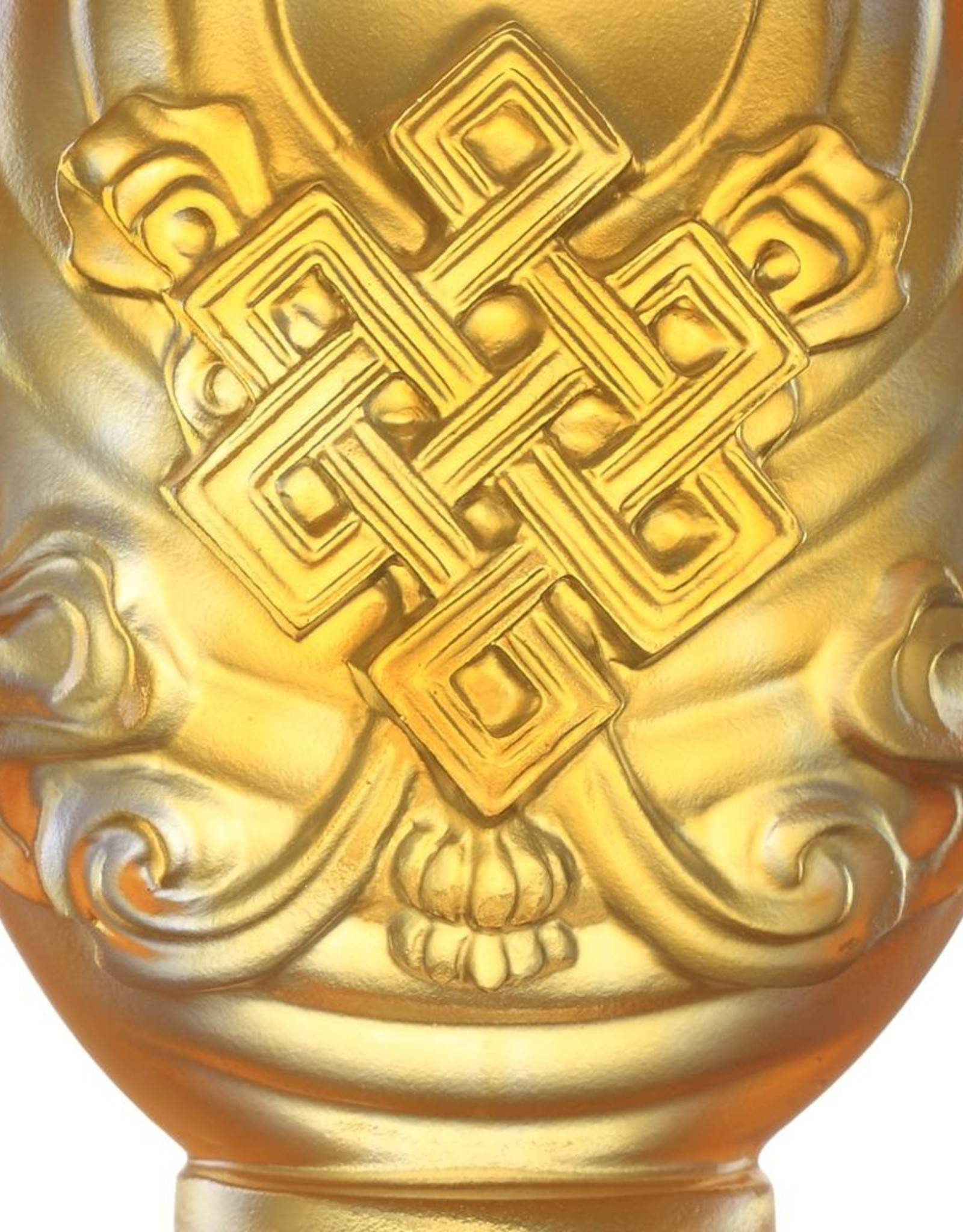 LIULI Crystal Art Crystal Feng Shui Auspicious Diagram-Immeasurable Auspiciousness, Eight Auspicious Offerings, Light Amber (Limited Edition)