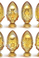 LIULI Crystal Art Crystal Feng Shui Victory Banner-Auspices Far and Wide, Eight Auspicious Offerings, Light Amber (Limited Edition)