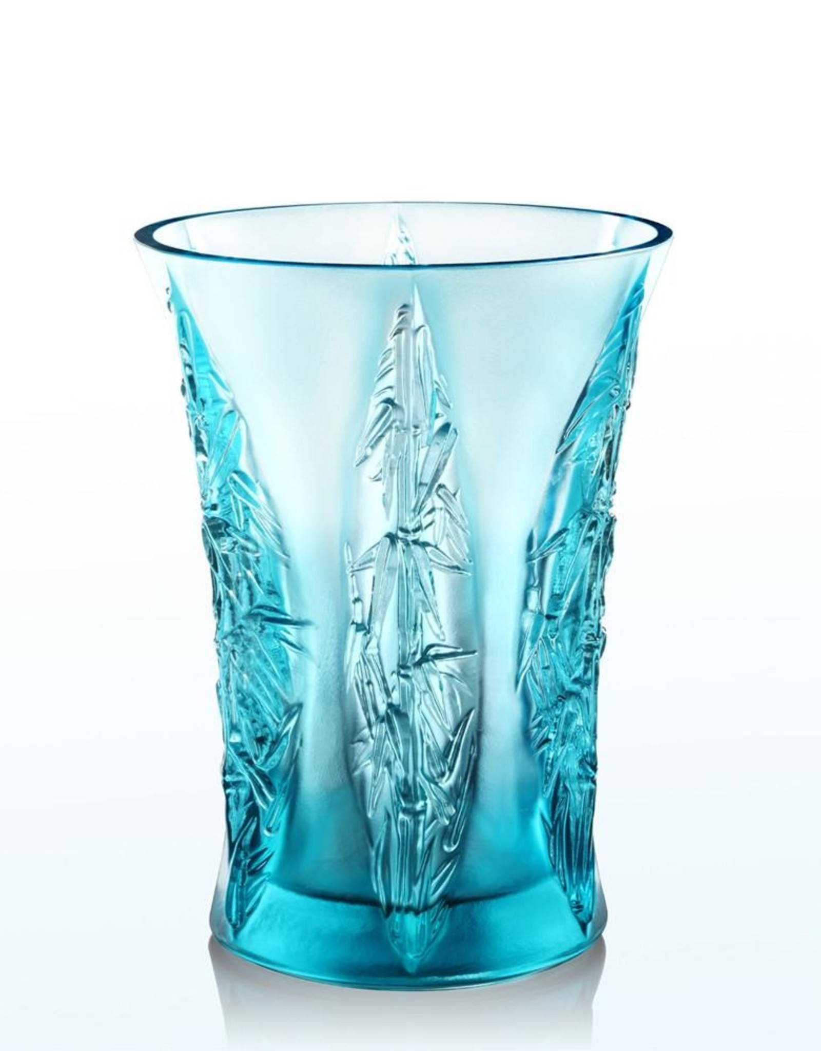 LIULI Crystal Art Crystal Floral Vase, In the Presence of Spring-Lovely Bamboo Shadows, Sky Blue