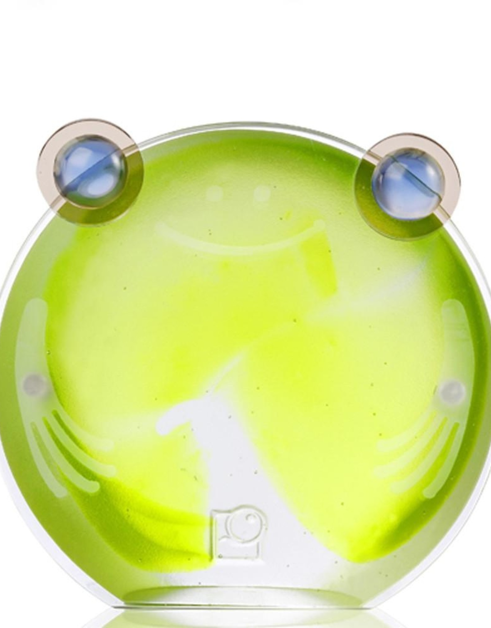 LIULI Crystal Art Crystal Chubby Frog Magnetic Photo Holder, Green Clear