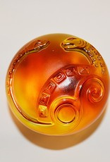 LIULI Crystal Art Crystal Mythical Snake Paperweight, Xuanwu of the North: Wonderful, Amber/Purple Clear (Limited Edition)
