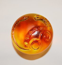 LIULI Crystal Art Crystal Mythical Snake Paperweight, Amber/Purple Clear (Limited Edition)