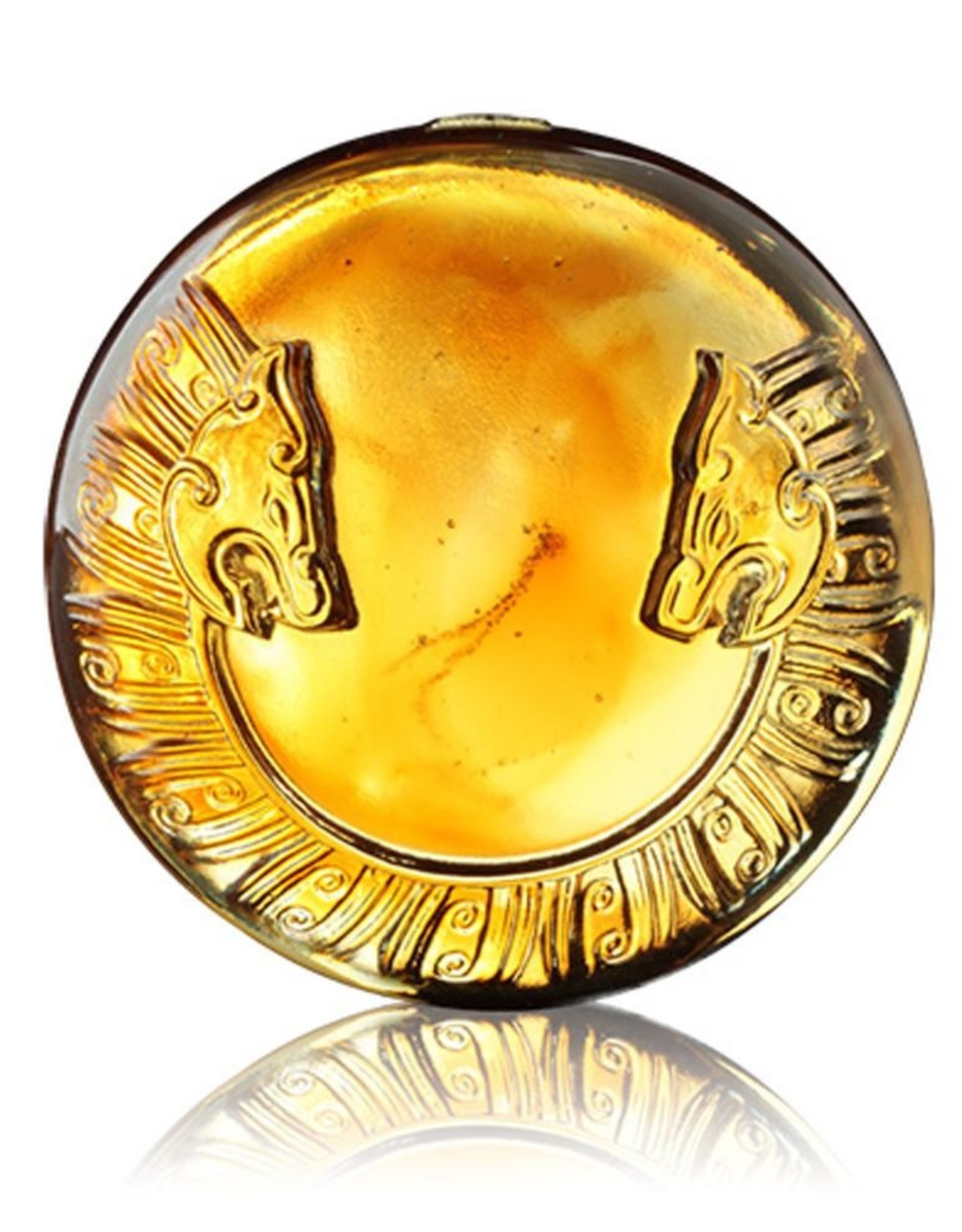 LIULI Crystal Art Crystal Mythical Tiger Paperweight, Tiger of the West: Independent, Amber/Purple Clear (Limited Edition)