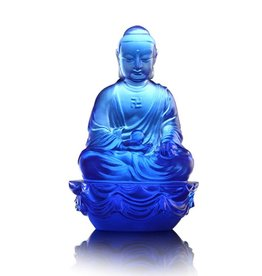 LIULI Crystal Art Crystal Medicine Buddha, The Guardian of Peace, Blue