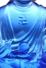 "LIULI Crystal Art Crystal ""Present Mindfulness"" Medicine Buddha, The Guardian of Peace, Blue"