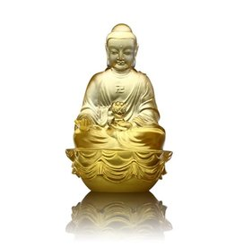 LIULI Crystal Art Crystal Amitabha Buddha, Guardians of Peace, Gold