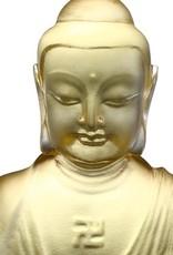 "LIULI Crystal Art Crystal ""Present Mindfulness"" Amitabha Buddha, Guardians of Peace, Gold"