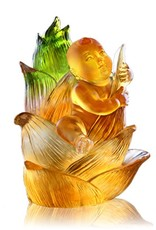 """LIULI Crystal Art Crystal Doll Figurine (Fearless), """"Great Heights Dolly"""" in Light Amber (Limited Edition)"""
