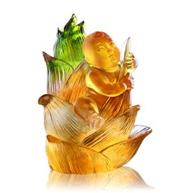 LIULI Crystal Art Crystal Great Heights Dolly Figurine (Fearless), Light Amber (Limited Edition)