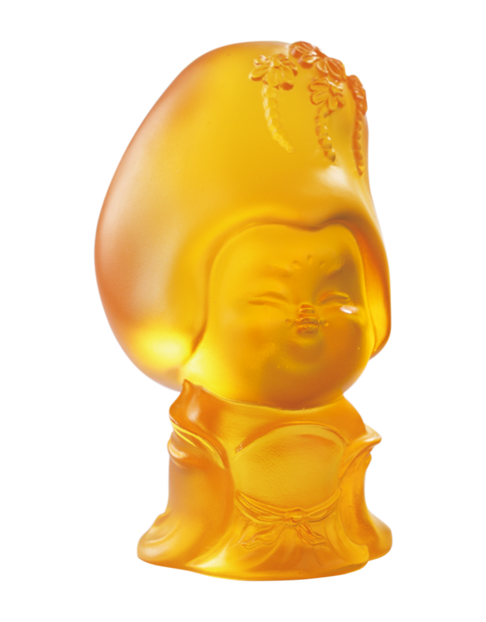 LIULI Crystal Art Crystal Mini Woman Figurine, The Beauty of Tang Dynasty-Thoughtful Beauty, Light Amber