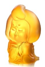 LIULI Crystal Art Crystal Mini Woman Figurine, The Beauty of Tang Dynasty-My Ideal Type, Light Amber
