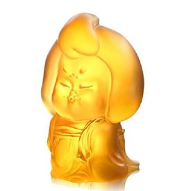 LIULI Crystal Art Crystal Mini Woman Figurine, My Ideal Type, Light Amber