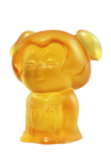 LIULI Crystal Art Crystal Mini Woman Figurine, The Beauty of Tang Dynasty-Girlfriends, Light Amber