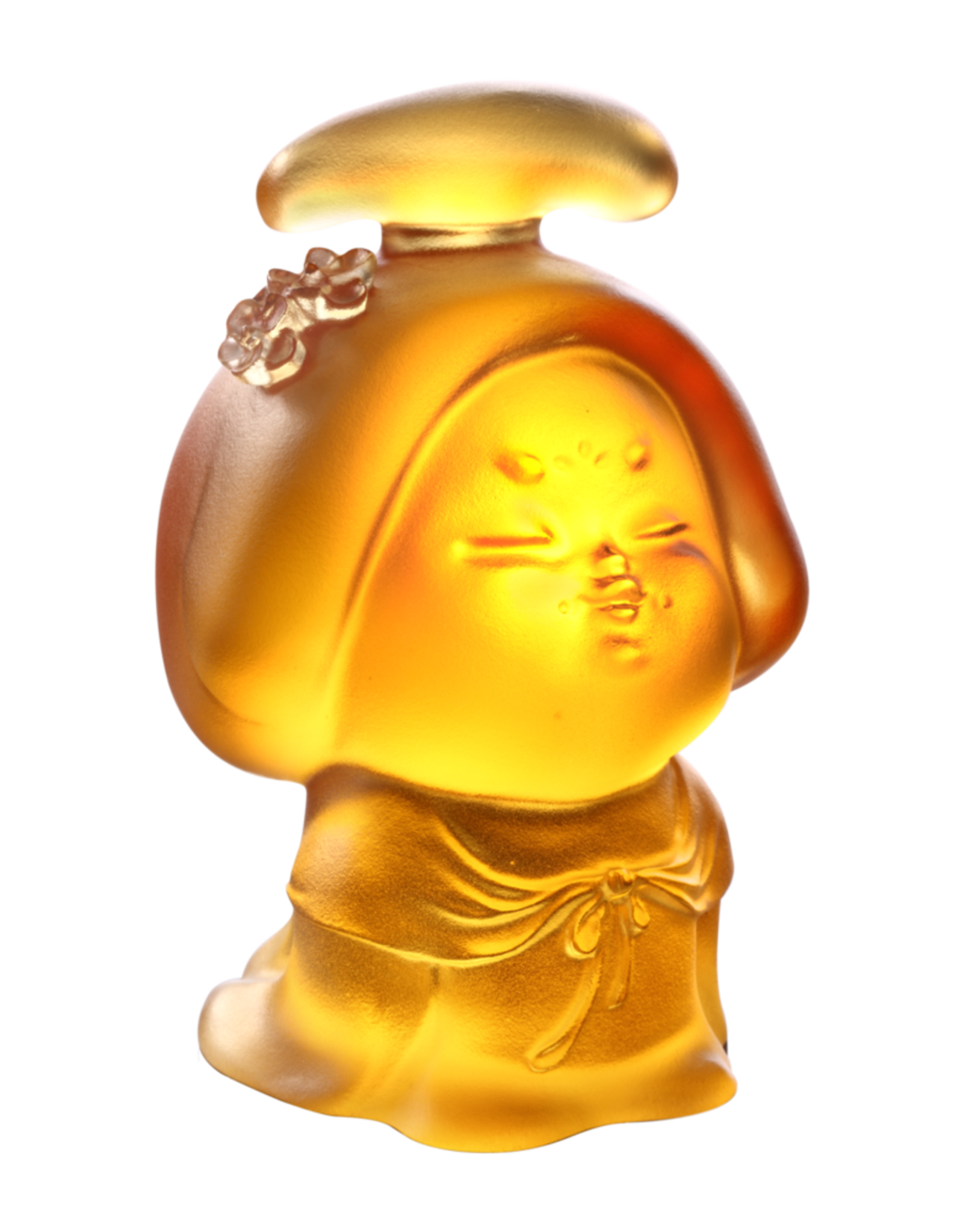 LIULI Crystal Art Crystal Mini Woman Figurine, The Beauty of Tang Dynasty-Celebration of a Strong Woman, Light Amber