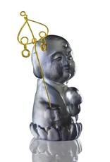 "LIULI Crystal Art Crystal Buddha, ""Joyous and Worry-Free, Healthy, Happy"" Ksitigarbha Bodhisattva in Dark Grey"
