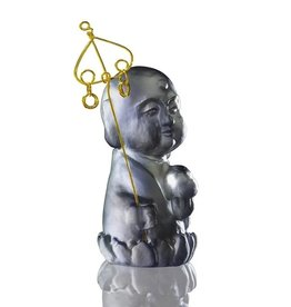 "LIULI Crystal Art Crystal Buddha, ""Healthy, Happy"" Ksitigarbha Bodhisattva, Dark Grey"