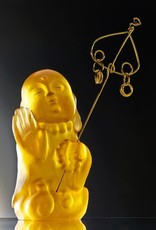 "LIULI Crystal Art Crystal Buddha, ""Joyous and Worry-Free, I Am Not Afraid"" Ksitigarbha Bodhisattva in Amber"
