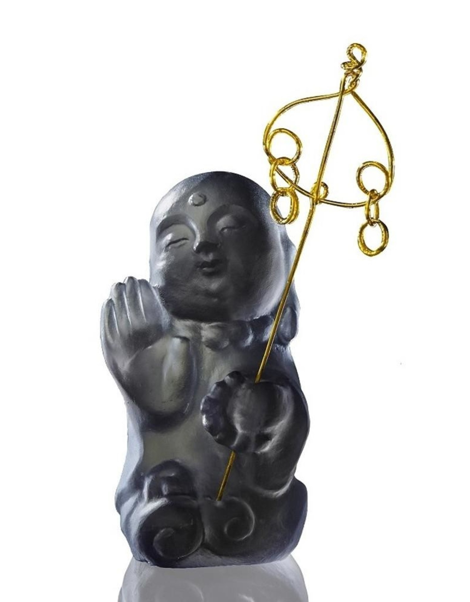 "LIULI Crystal Art Crystal Buddha, ""Joyous and Worry-Free, I Am Not Afraid"" Ksitigarbha Bodhisattva in Dark Grey"