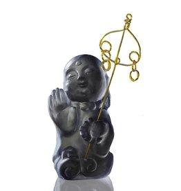 "LIULI Crystal Art Crystal Buddha, ""I Am Not Afraid"" Ksitigarbha Bodhisattva, Dark Grey"