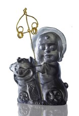 "LIULI Crystal Art Crystal Buddha, ""Joyous and Worry-Free, Safe Travels"" Ksitigarbha Bodhisattva in Dark Grey"