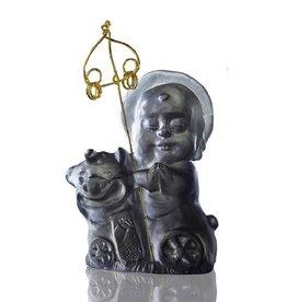 "LIULI Crystal Art Crystal Buddha, ""Safe Travels"" Ksitigarbha Bodhisattva, Dark Grey"