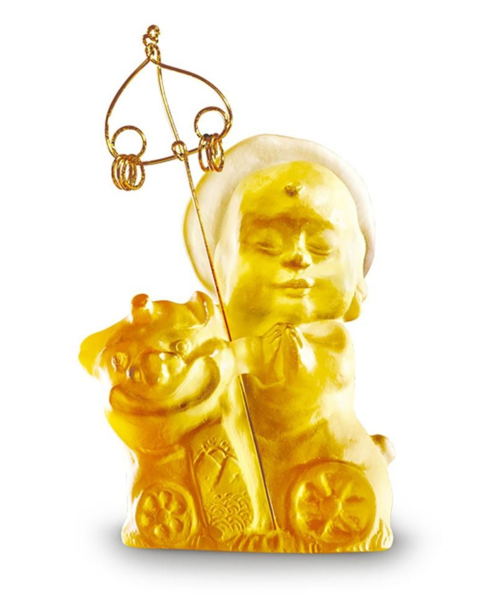 "LIULI Crystal Art Crystal Buddha, ""Joyous and Worry-Free, Safe Travels"" Ksitigarbha Bodhisattva in Amber"
