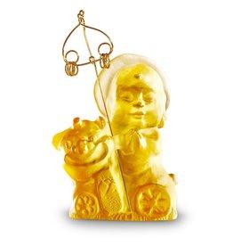 "LIULI Crystal Art Crystal Buddha, ""Safe Travels"" Ksitigarbha Bodhisattva, Amber"