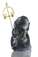 "LIULI Crystal Art Crystal Buddha, ""Joyous and Worry-Free, A Kind Heart Rewarded"" Ksitigarbha Bodhisattva in Dark Grey"