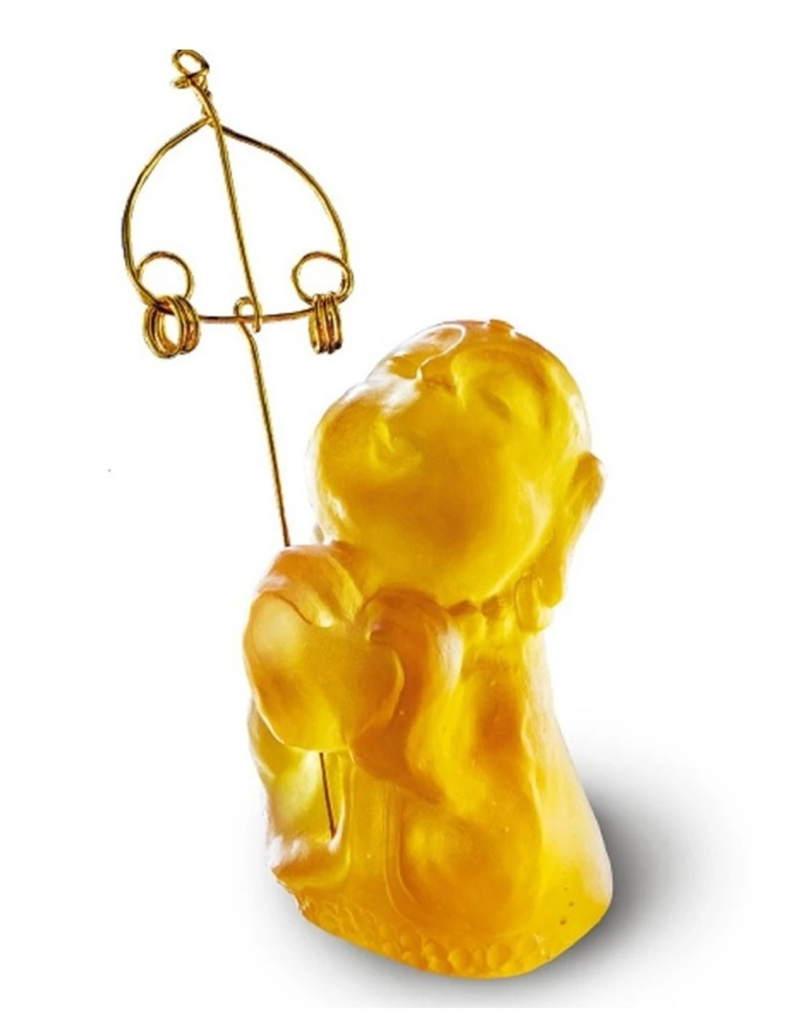 "LIULI Crystal Art Crystal Buddha, ""Joyous and Worry-Free, A Kind Heart Rewarded"" Ksitigarbha Bodhisattva in Amber"