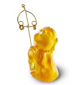 "LIULI Crystal Art Crystal Buddha, ""A Kind Heart Rewarded""  Ksitigarbha Bodhisattva,  Amber"