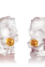 LIULI Crystal Art Crystal Dolls of Peace & Good Fortune, Baby Peace & Baby Ruyi (Set of 2), Powder White, 24K Gold Leaf