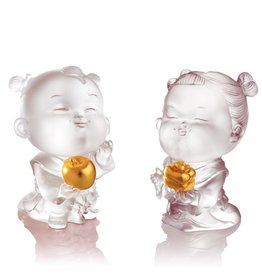 LIULI Crystal Art Crystal Dolls of Peace & Good Fortune (Set of 2), 24K Gold Leaf