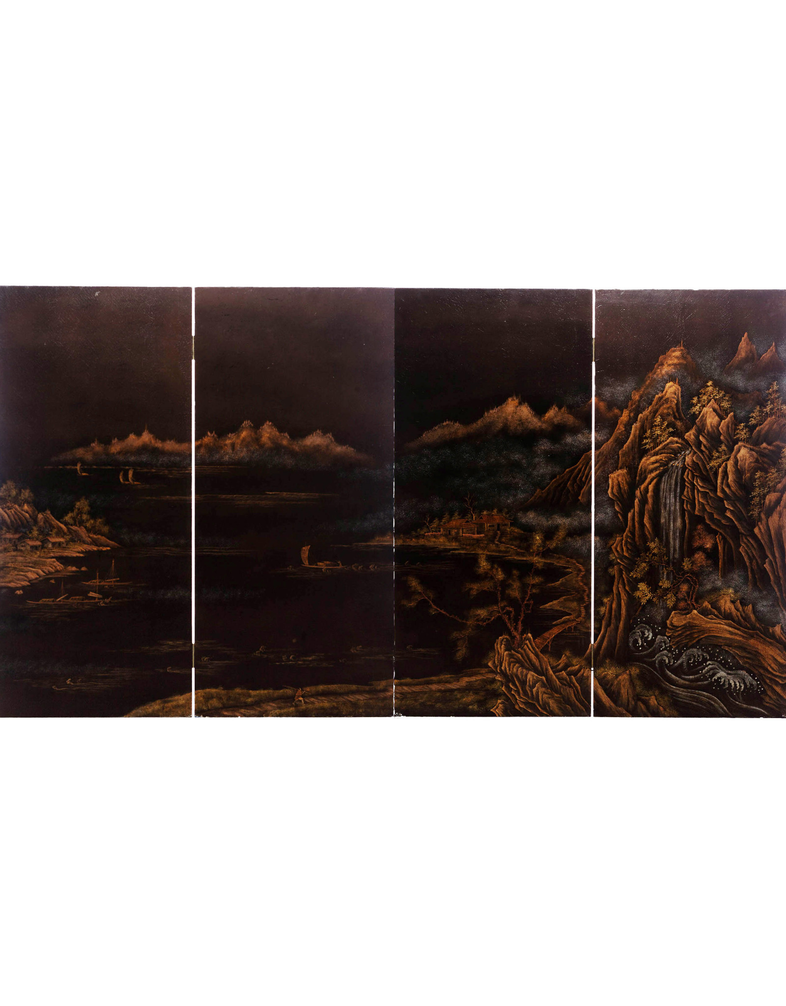 """Lawrence & Scott """"City of Guilin"""" Leather on Wood 4-Panel Screen/Room Divider"""