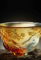 LIULI Crystal Art Crystal Plum Blossom Bowl, The Four Gentlemen-The Plum Gentleman, Amber/Sky Blue (Limited Edition)