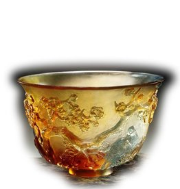 LIULI Crystal Art Crystal Plum Blossom Bowl, The Four Gentlemen, Amber/Sky Blue (Limited Edition)