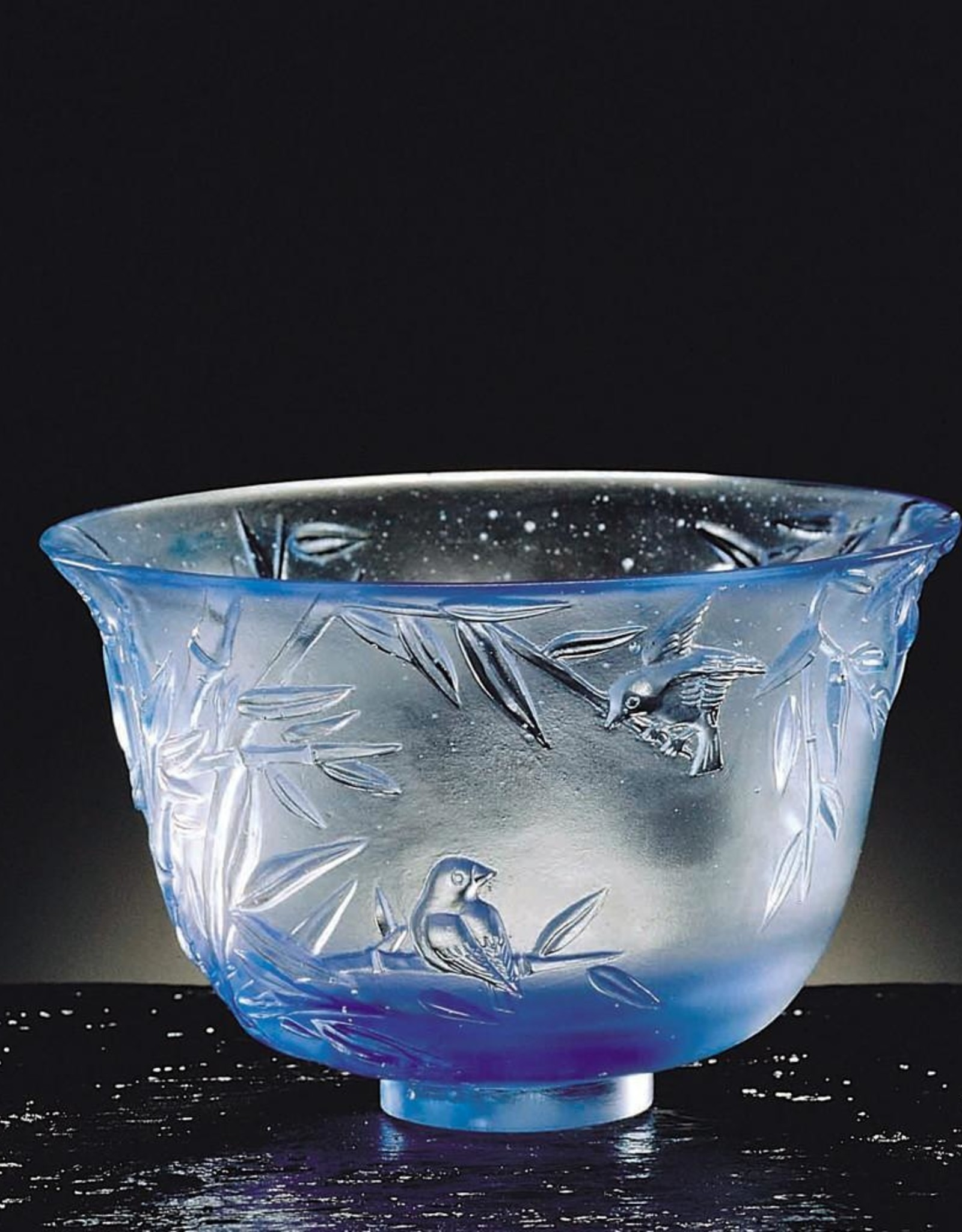 LIULI Crystal Art Crystal Bamboo Bowl, The Four Gentlemen-The Green Gentleman, Royal Purple Clear (Limited Edition)
