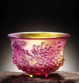 LIULI Crystal Art Crystal Chrysanthemum Bowl, The Four Gentlemen, Amber/Gold Red Clear (Limited Edition)