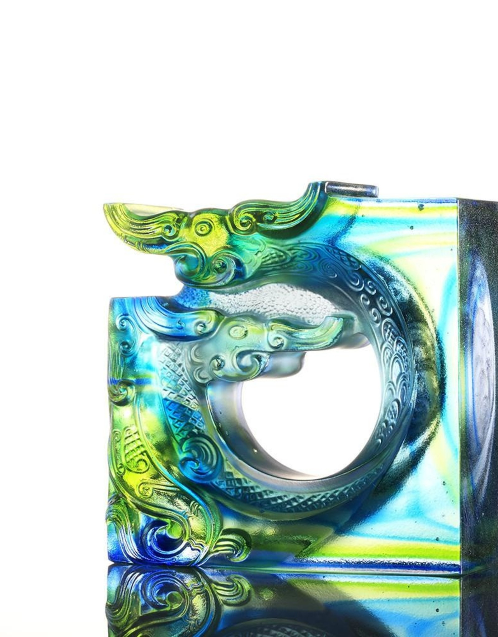 LIULI Crystal Art Crystal Dragon, The Beauty of Harmony-An Unassuming Heart, Bluish/Green Clear (Limited Edition)