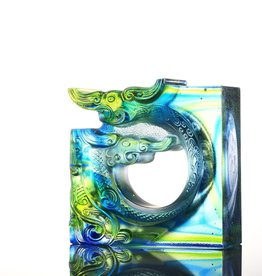 LIULI Crystal Art Crystal Dragon, An Unassuming Heart, Bluish/Green Clear (Limited Edition)