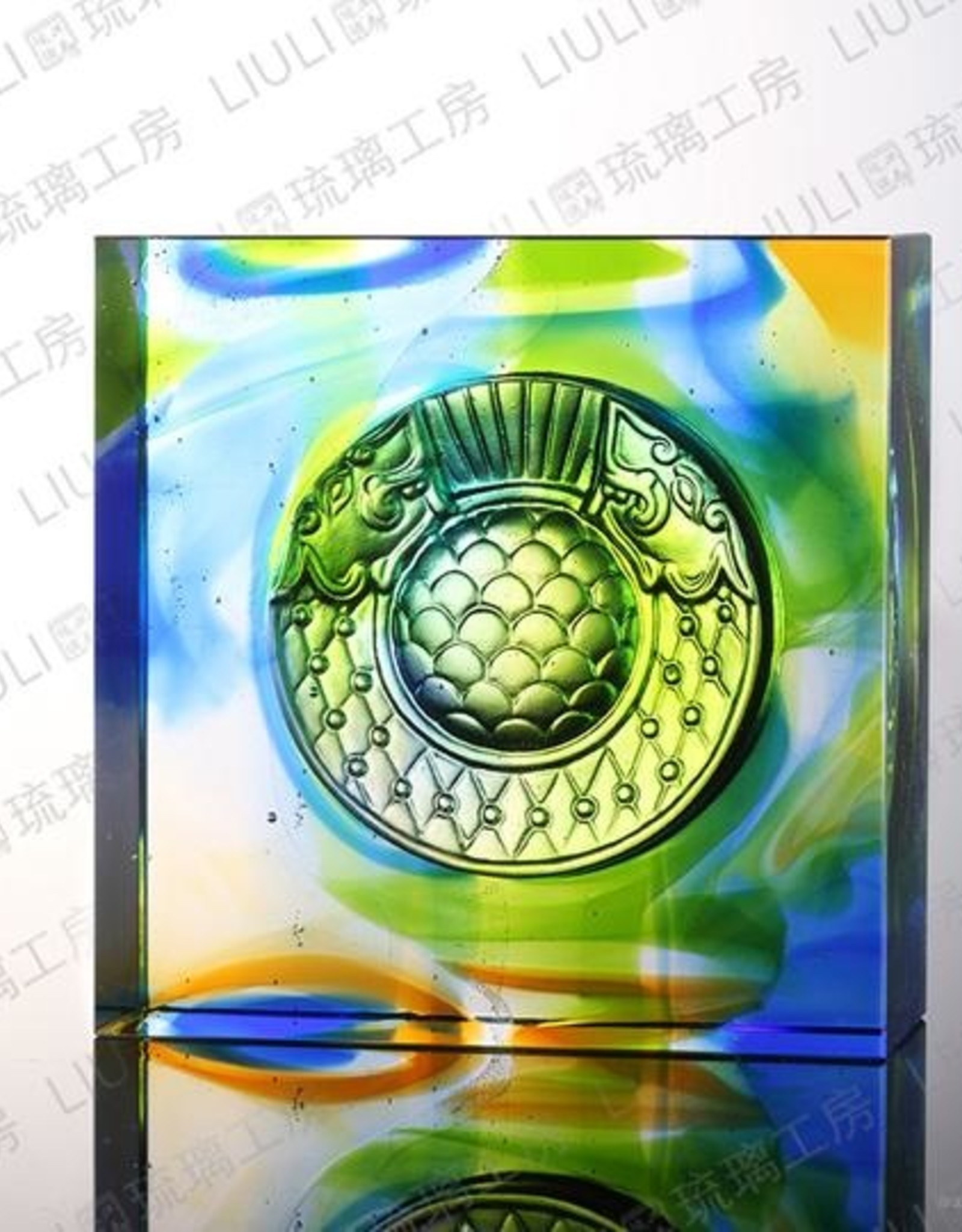 LIULI Crystal Art Crystal Mythical Creature Paperweight, Dragon Fish Protector, Mixed Colors
