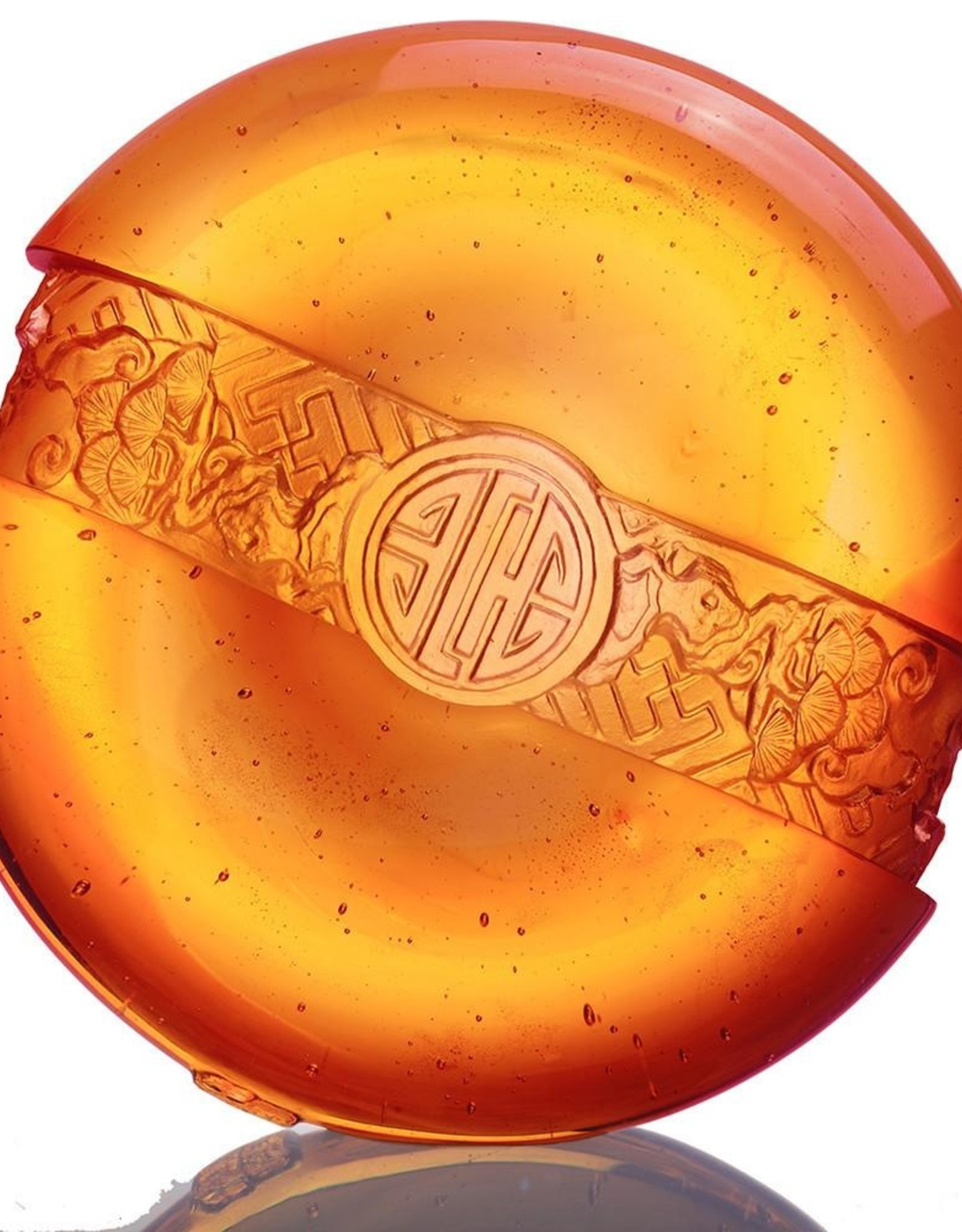 LIULI Crystal Art Crystal Feng Shui Paperweight, Ruyi Sycee, Dark Amber/Light Amber (Limited Edition)